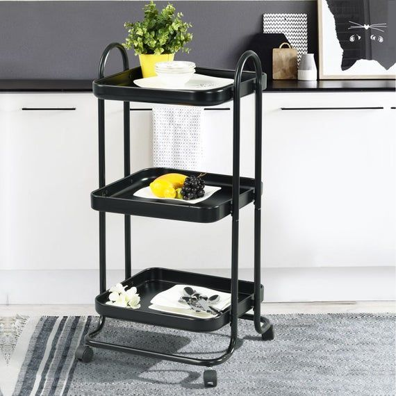 Modern Metal Frame Kitchen Storage Trolley Cart 3 Tiers Rolling Castors Wheels With Brake Black In 2020 Kitchen Storage Kitchen Storage Trolley Kitchen