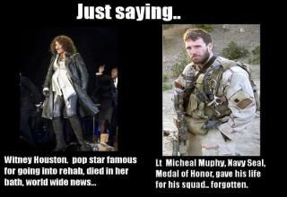 ...and that's a major insult.Whitney Houston, So Sadness, Heroes, So True, Navy Seals, People, True Stories, Military, Forget Him