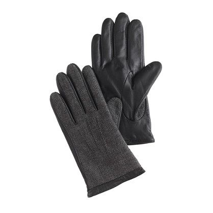 These gloves are handsome and helpful: They're outfitted with special technology that allows you to use touchscreen devices without removing your gloves. They're also lined with cashmere, so they're really warm. Leather with poly/wool tweed shell and cashmere lining.
