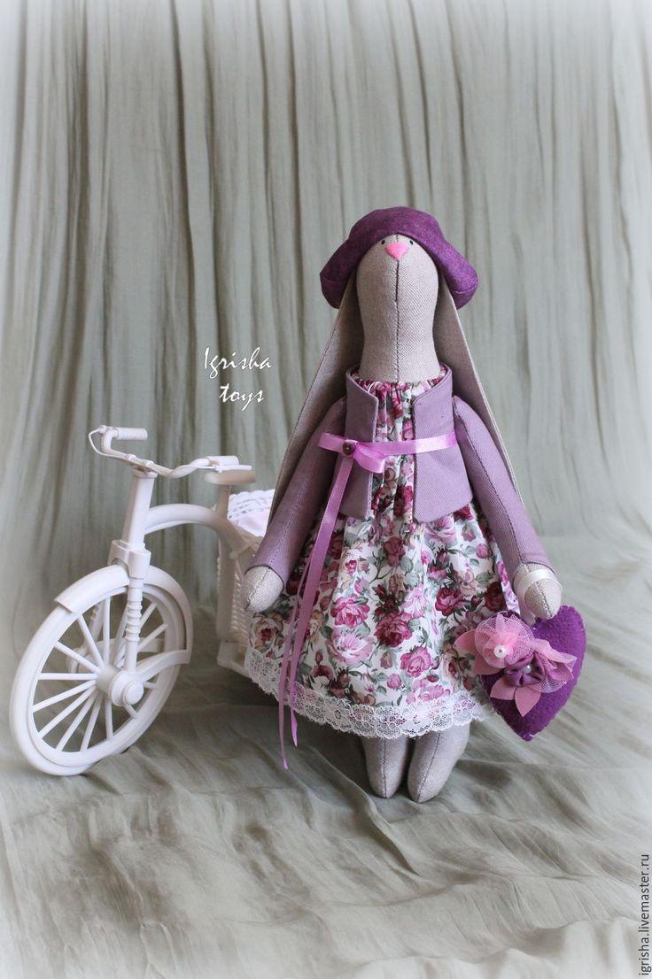 Купить Зайка Мишель - фиолетовый, заяц тильда, тильда заяц, тильда, Тильда Зайка
