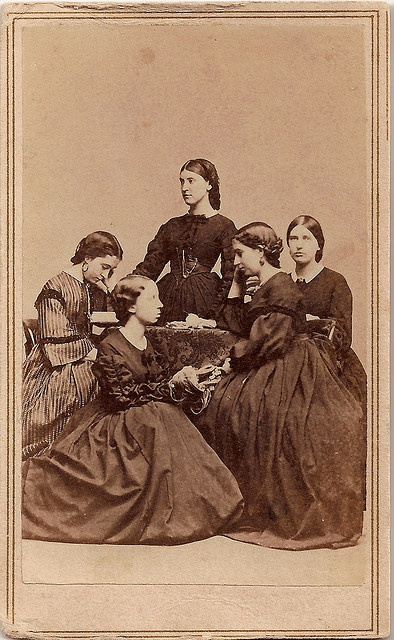 Knitting Circle by Piedmont Fossil, via Flickr In this photo, dated December 6, 1862, photograph by N. Ghiradini, Washington Gallery, Providence, Rhode Island.  Perhaps, the young women are going to knit items for soldiers while another woman reads to them to help pass the time.