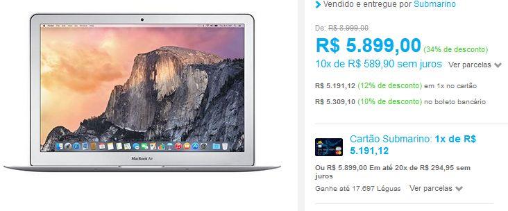 "Macbook Air MJVE2BZ/A Intel Core i5 4GB 128GB Tela Widescreen 13.3"" OS X Yosemite Prata << R$ 519112 >>"