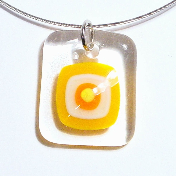 Etsy Transaction - Sunspot, Fused Glass Pendant Necklace. ellecools.