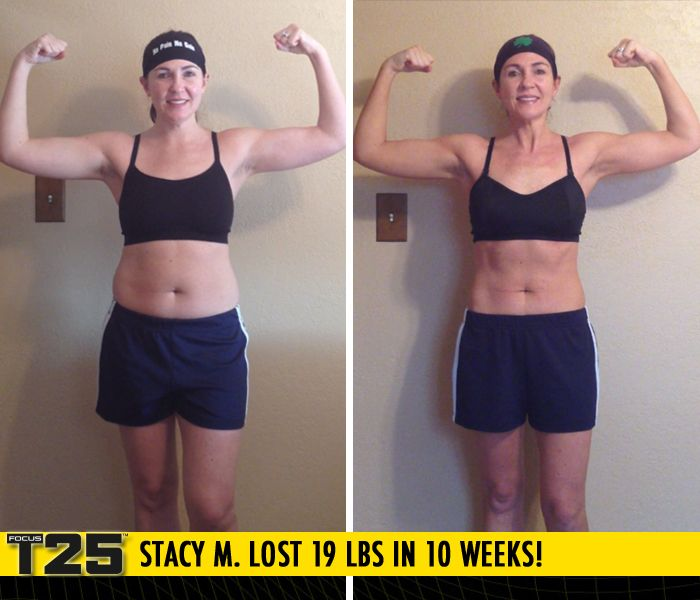 """Stacy M. lost 19 lbs in 10 weeks with Focus T25!    """"Within the first 7 weeks of T25 I was down 10 pounds! I feel motivated again. I feel like a new me!"""""""