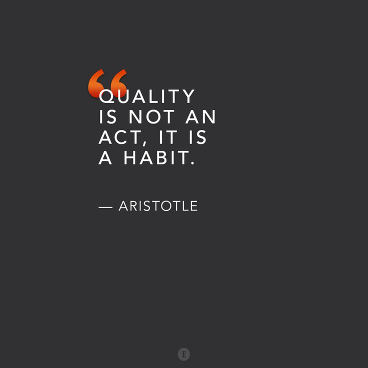 """Quality is not an act, it is a habit."" -- Aristotle"