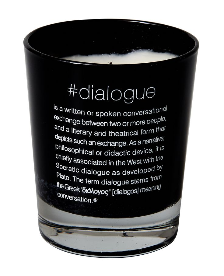 Scented candle #dialogue. Dimension: d8x9cm. Material: paraffin.