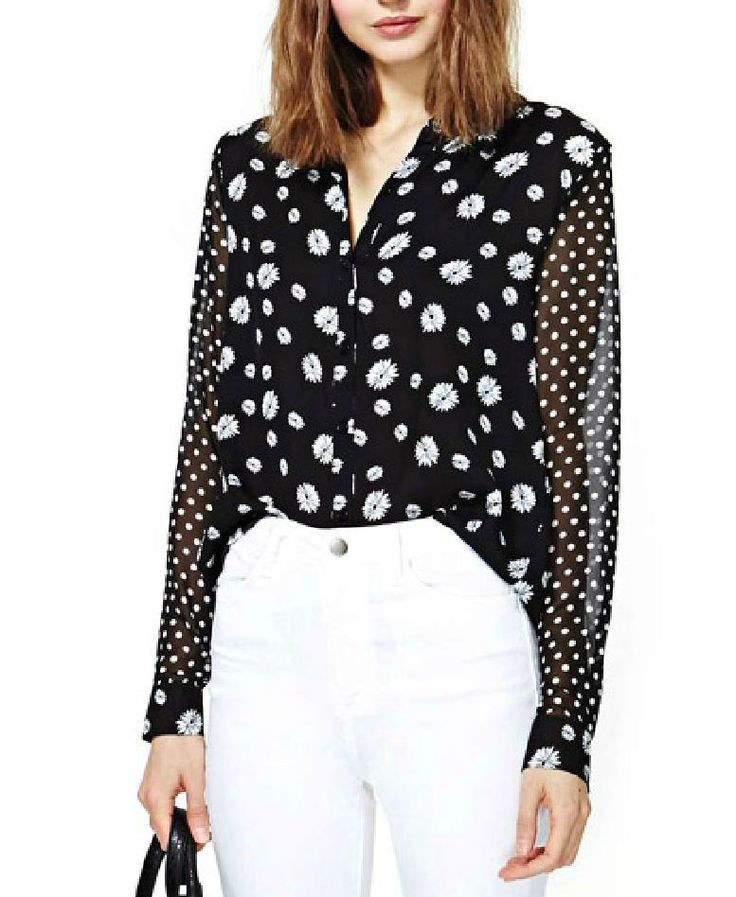 Floral Printed Wave point Slim Fit Chiffon Blouse