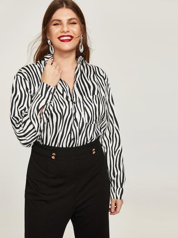 Plus Zebra Print Blouse -SheIn(Sheinside)  0861d036aa