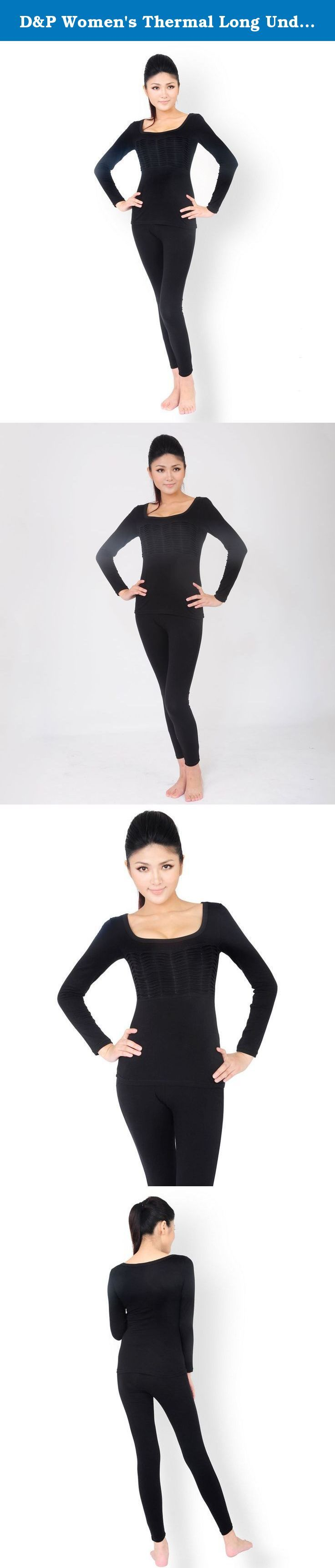 D&P Women's Thermal Long Underwear Sets Stretch Top and Bottom Black (XS, Black). Package includes: 1 Set of Women's Thermal Underwear (Top & Bottom). Size Chart X-Small (Shirt : Length 53 cm, Chest 72 cm/ Pants Length 84 cm, Waist 58 cm) Small (Shirt : Length 55 cm, Chest 76 cm/ Pants Length 86 cm, Waist 62cm) Medium (Shirt : Length 57 cm, Chest 80 cm/ Pants Length 88 cm, Waist 66 cm) Large (Shirt : Length 59 cm, Chest 82 cm/ Pants Length 90 cm, Waist 70cm).