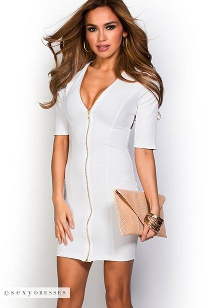 """Cady"" White Zip Front V Neck Bodycon Dress with Sleeves"