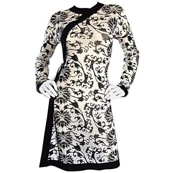 Preowned Rare Vintage Vivienne Tam Black And White Tattoo Print Asian... ($750) ❤ liked on Polyvore featuring dresses, white, tattoo dresses, stretchy dresses, black and white wrap dress, white wrap around dress and stretch dress