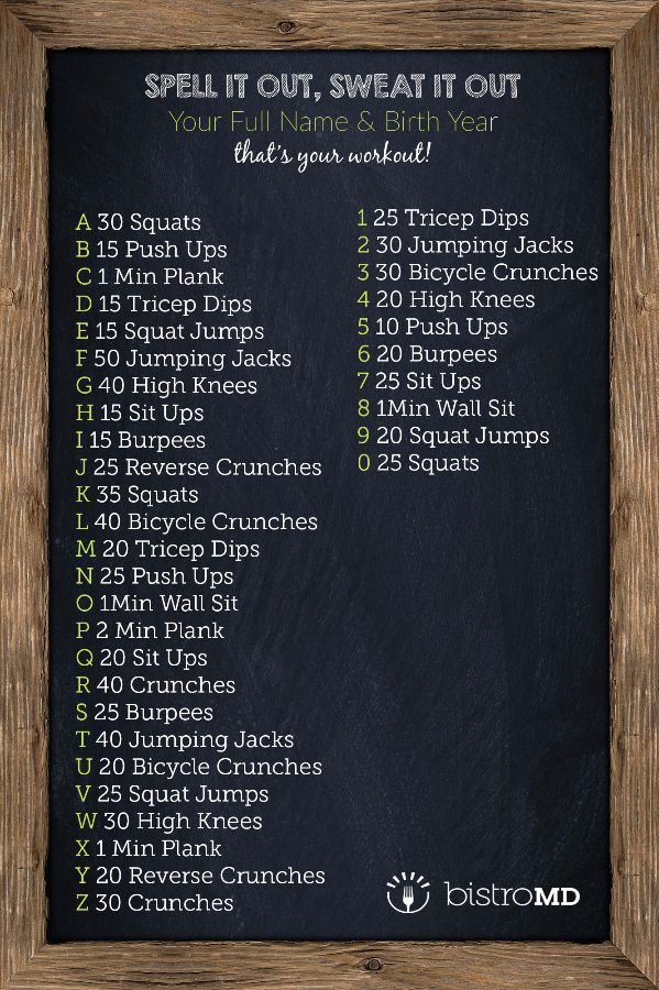 CrossFit style workout, no equipment needed! Spell out your name and birth year with these moves, and you have your high intensity workout for the day.