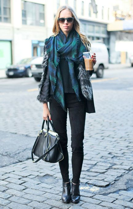 Plaid, fur, and iced coffee in NYC Street Style Fashion