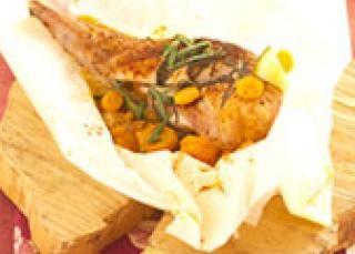 Papillote de poulet moutarde et ses carottes vapeur