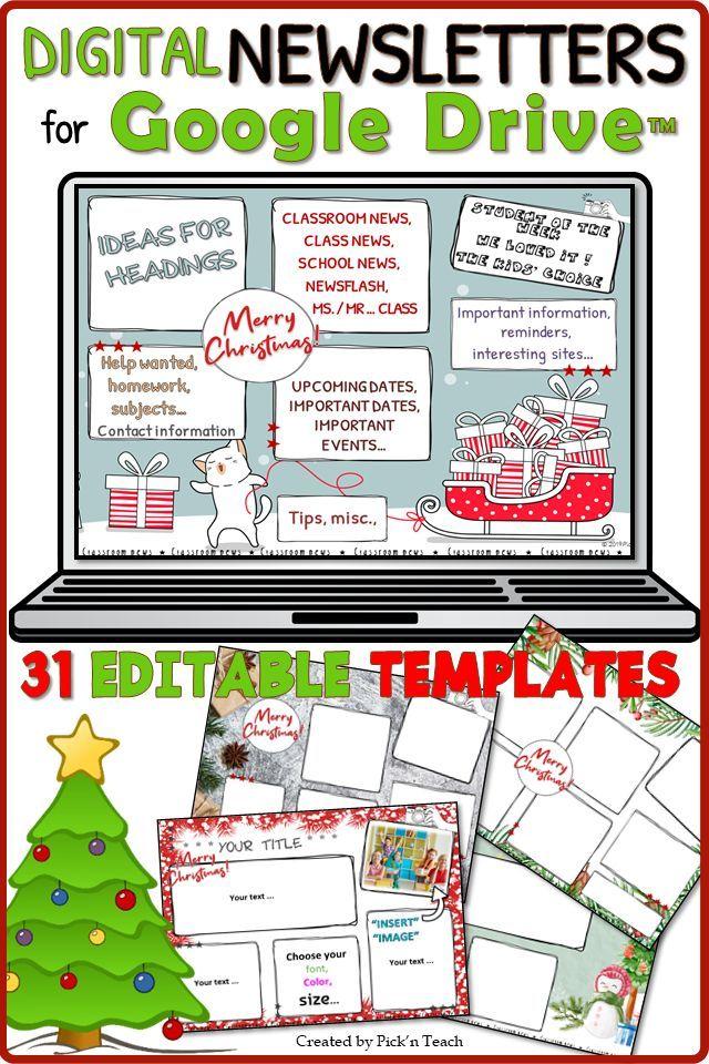 31 Editable Newsletter Templates For Google Drive Christmas Editable Newsletter Templates Newsletter Templates Christmas Teaching Resources