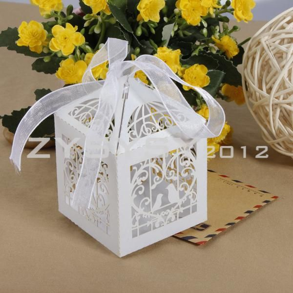 12pcs White Love Birds Hollowed Wedding Bomboniere Candy Boxes Party Favors | eBay $6.59