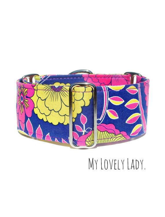 Purple Dog Collar Floral Girly Martingale Greyhound by CollarTown