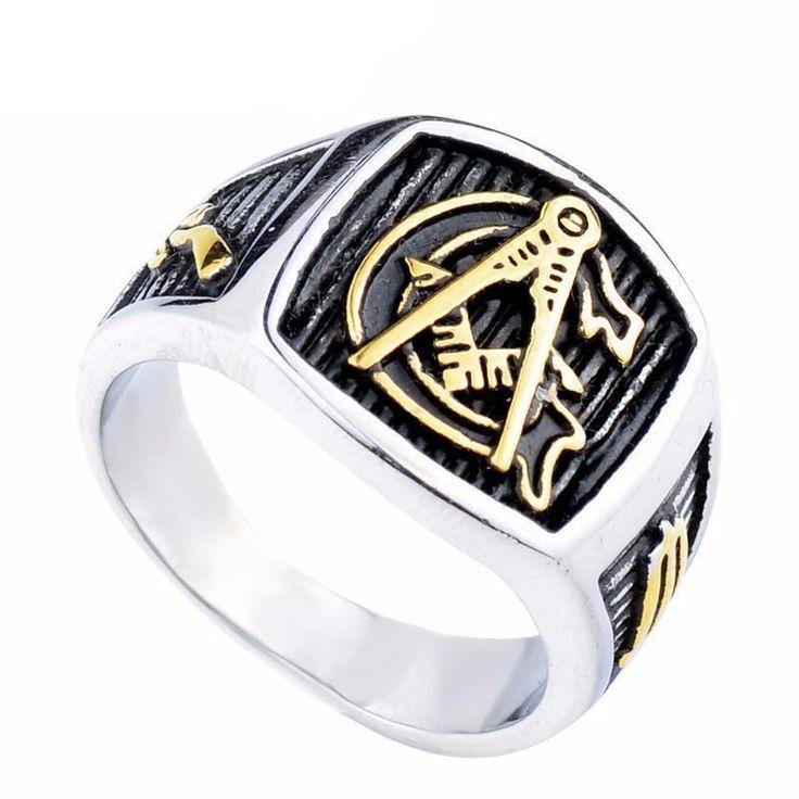 Silver Gold Tone Freemason Ring