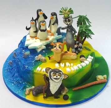 """Детские торты — Детский торт """"Мадагаскар"""""""
