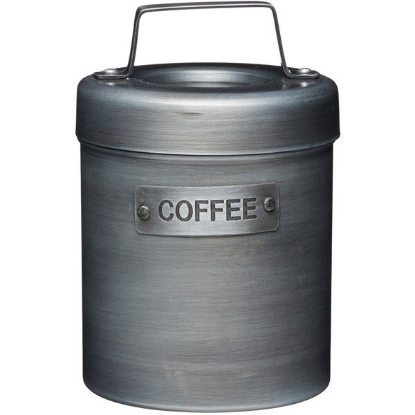 Industrial Kitchen Vintage-Style Metal Coffee Caddy (£13) ❤ liked on Polyvore featuring home, kitchen & dining, food storage containers, metal food storage containers, metal canisters and metal caddy