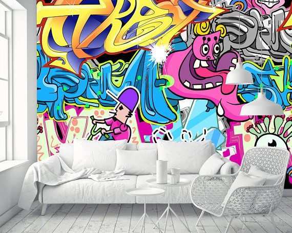 Removable Wallpaper Mural Peel Stick Street Art Graffiti Etsy Graffiti Wallpaper Mural Wallpaper Graffiti Bedroom