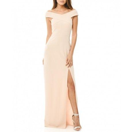 Kobieca beżowa długa sukienka z ciekawym dekoltem X