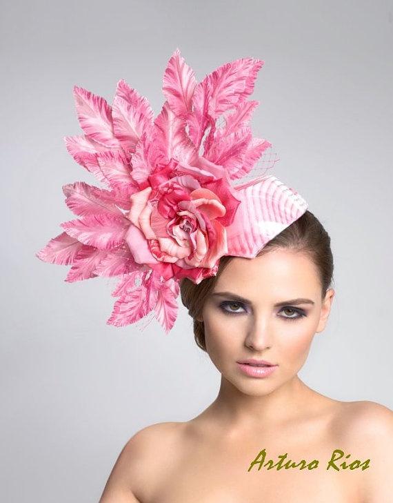Gum Pink Fascinator headpiece by ArturoRios on Etsy, $189.00