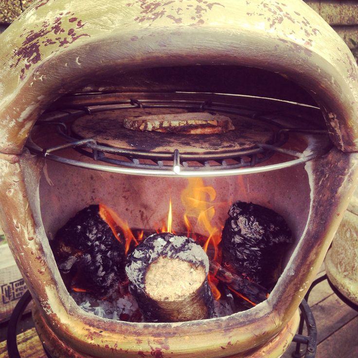 Pizza chimenea toasting sourdough