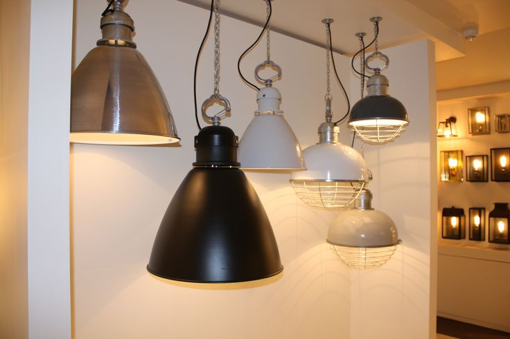 Our London Showroom's new lighting display with the Oceanic and 7380 pendants.