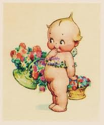kewpie flower baskets- remember kewpies from my childhood!!