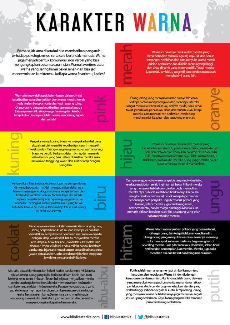 Warna sejak lama diketahui bisa memberikan pengaruh terhadap psikologi, emosi serta cara bertindak manusia. Warna juga menjadi bentuk komunikasi non verbal yang bisa mengungkapkan pesan secara instan. Warna favoritmu atau warna yang sering kamu pakai sehari-hari bisa jadi mencerminkan karaktermu. Jadi apa warna favoritmu, Ladies? | #Infographic