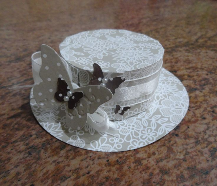 Boîte chapeau Stampin'Up - Papier de la série Design Voile et dragées