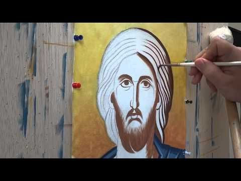 Not sure if this is just samples with egg tempera or an alternative paint method for sample purposes... Orthodox iconography demo on Christ