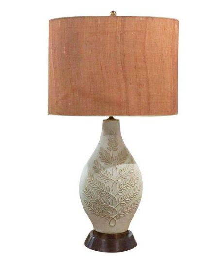 Mid Century Lamp Shades Amusing Mid Century Pottery Lamp Burlap Shade  Products Decorating Inspiration