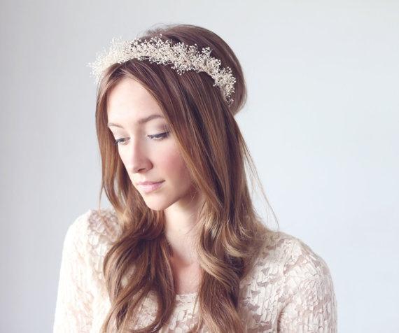 BLUSH - baby's breath mini crown, mini halo, bridal crown, baby's breath halo crown