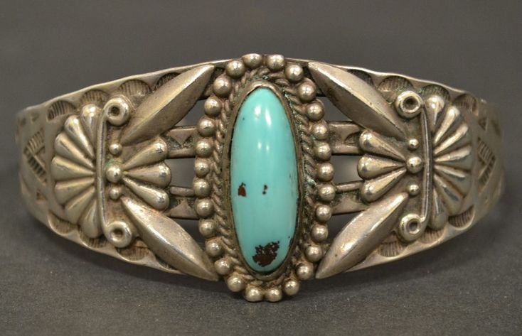 Vintage Native American Old Pawn Sterling Silver Turquoise Cuff Bracelet #Cuff