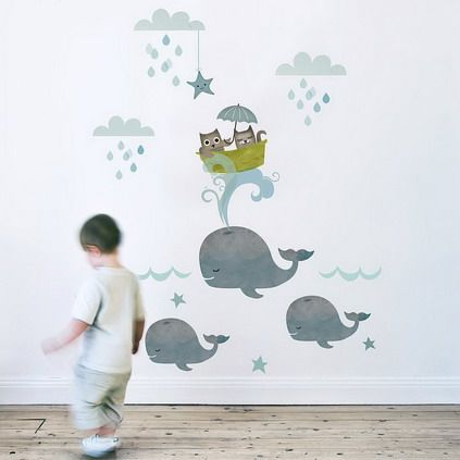 Funny Fish Underwater Pictures Decoration for Kids Nursery Bedroom Wall Murals Art