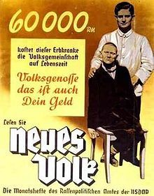 """This poster (from around 1938) reads: """"60,000 Reichsmark is what this person suffering from a hereditary defect costs the People's community during his lifetime. Fellow citizen, that is your money too. Read '[A] New People', the monthly magazine of the Bureau for Race Politics of the NSDAP."""""""