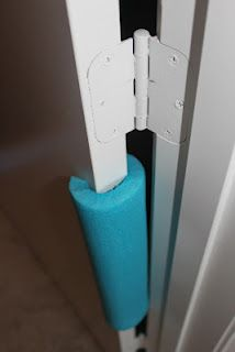 I'm going to buy these tomorrow. Why didn't I think of this? I'd be really happy if I could find something like this in white. Swim Noodle as a Door Stopper to baby proof your home