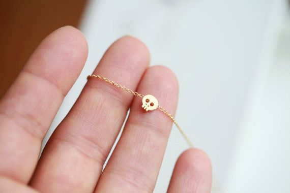 Tiny gold skull necklace 16 GOLD Small skull necklace by ifancy