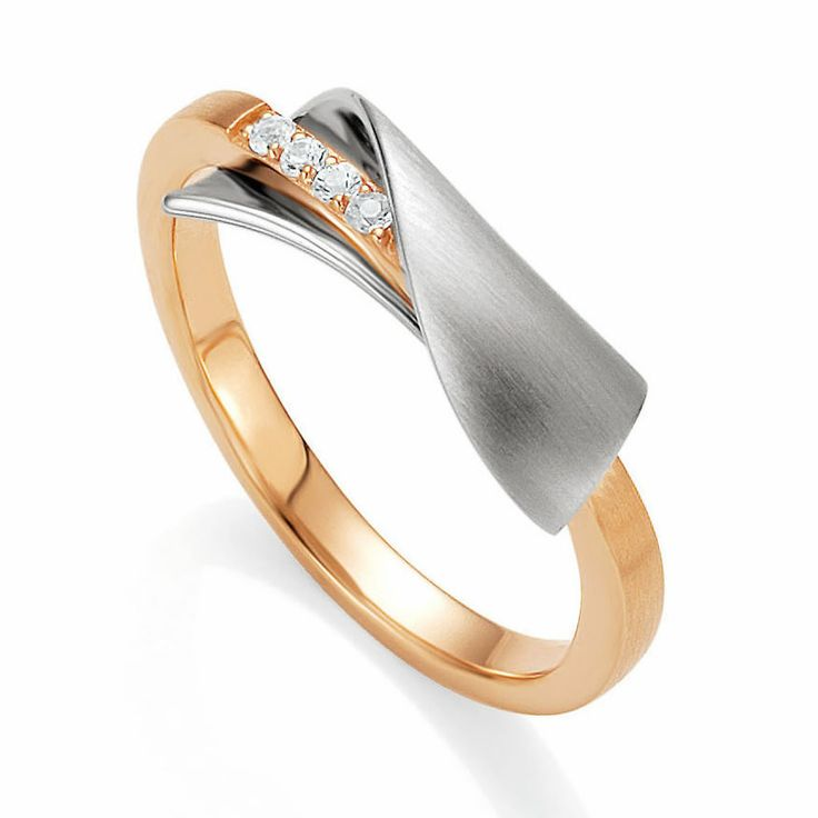Breuning Rose Gold Plated & White Sapphire Twist Ring