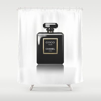 Chanel Noir Shower Curtain By Beckiboos 68 00 Marketable Products Curtains And Bedroom
