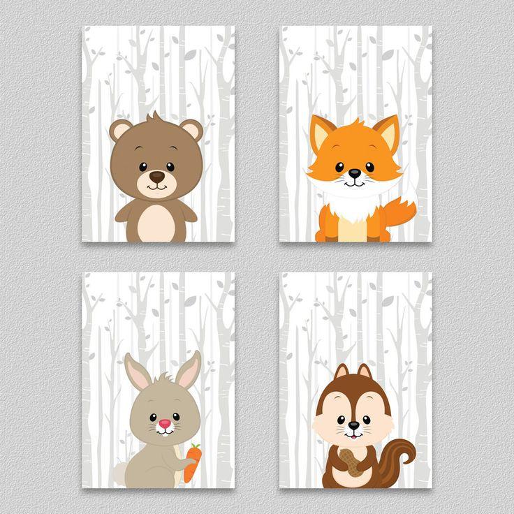 Wandbild Kinderzimmer Dekoration. Wald Tiere 4er Set. Druck auf qualitativ hochw…