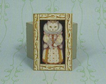 Dollhouse Miniature Framed Princess/Queen Cat Art Print