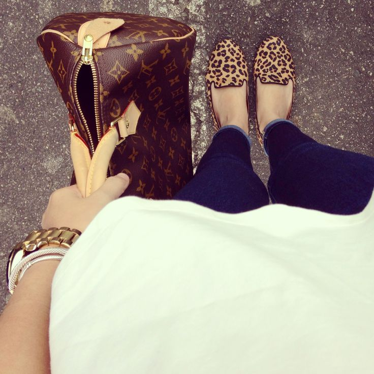 Sam Edelman leopard smoking shoe, louis vuitton monogram speedy, stacked arm, cuffed denim, loose tee = perf!