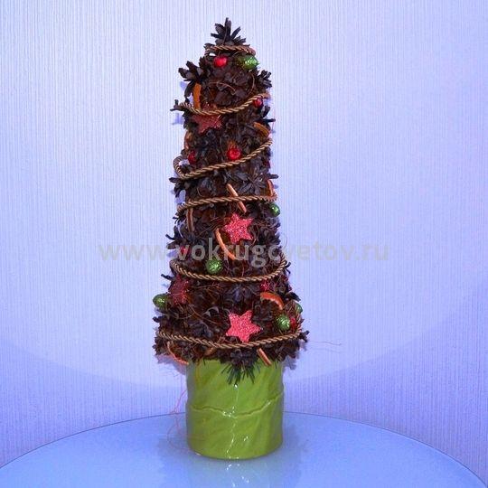 Новогодняя композиция елка из шишек