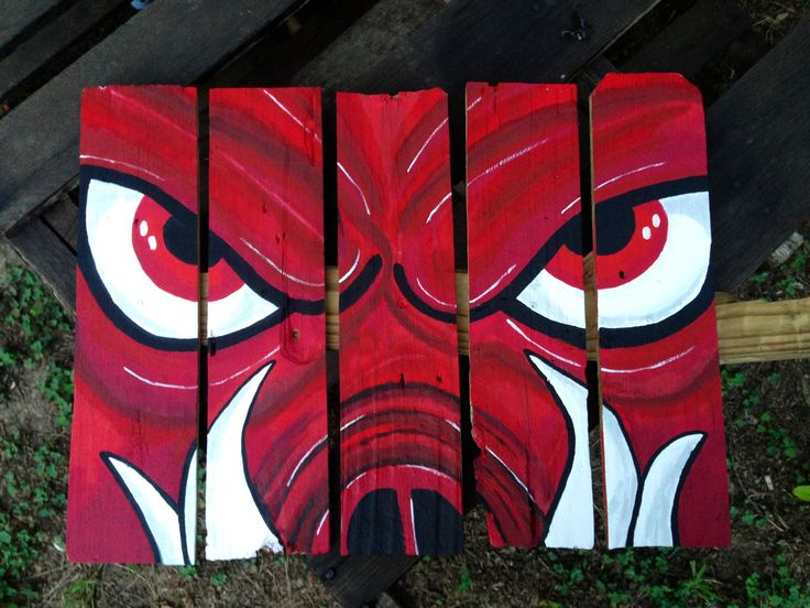 Arkansas razorback painting done on wooden fence pieces www.offbeatcanvas.com