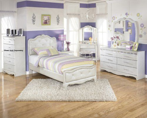 Julia Silver And Pearl Girlu0027s Twin Size Bedroom Set , Bed Dresser Mirror  Night Stand Vanity