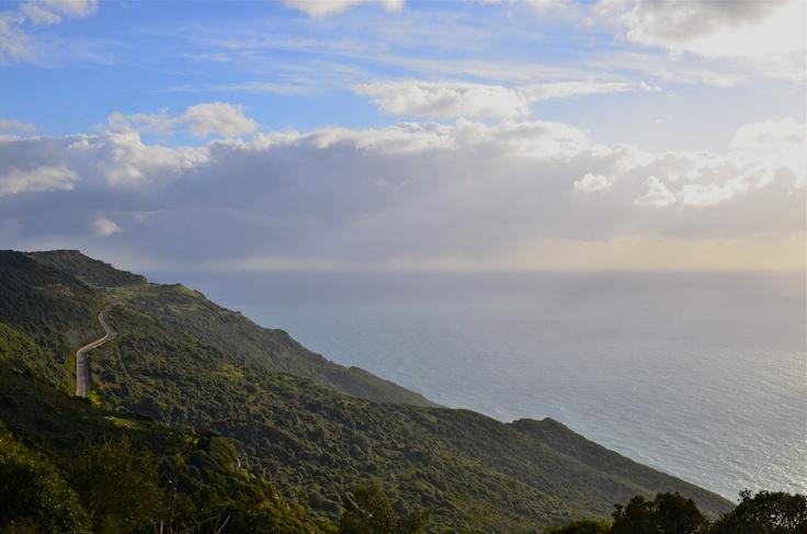 Driving above the sea (Alghero-Bosa street, Sardinia)