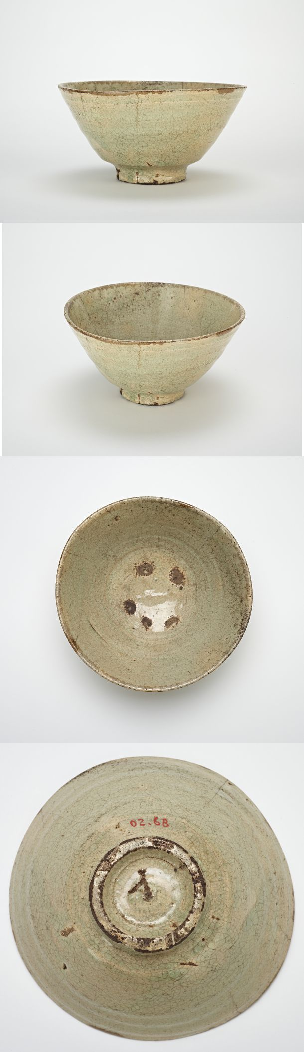 Tea bowl Joseon period, second half 16th century Porcelain with transparent, pale blue glaze Dimension(s) H x W: 8 x 16 cm (3 1/8 x 6 5/16 in) Korea, Western Gyeongsangnam-do province, Jinju